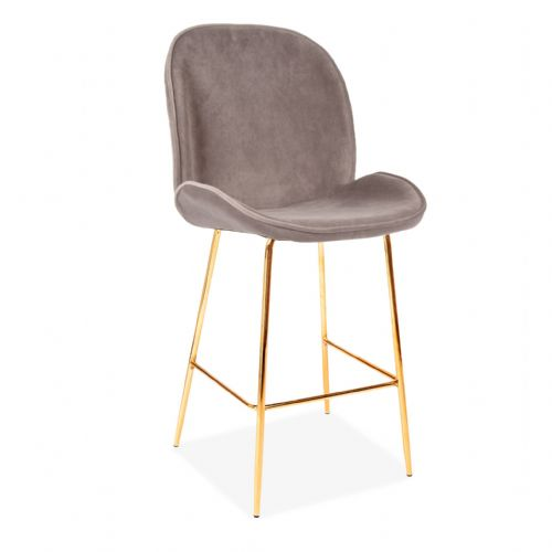 x2 Grey Journey Velvet Barstool, with Gold Legs 65/75cm